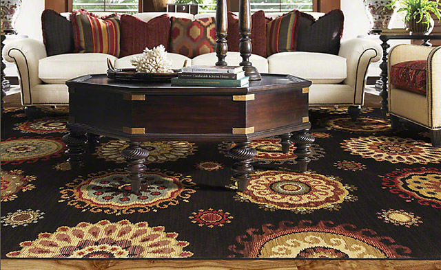 Murri Suzani in Black by Shaw Area Rugs