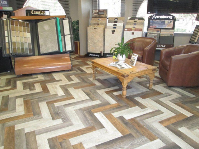 Luxury Vinyl Planks in Herringbone Pattern