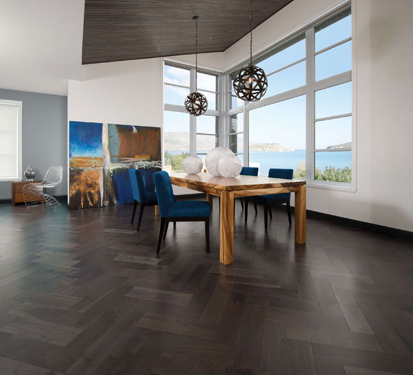 Herringbone Collection – Knotty Walnut Charcoal Herringbone by Mirage Floors
