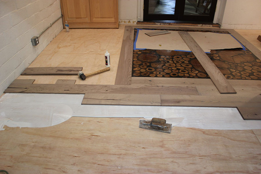 Setting the borders of the custom floor | Slaughterbeck Floors