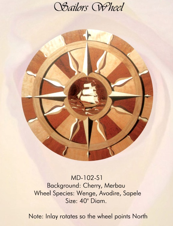 Sailors Wheel Medallion Hardwood Inlay