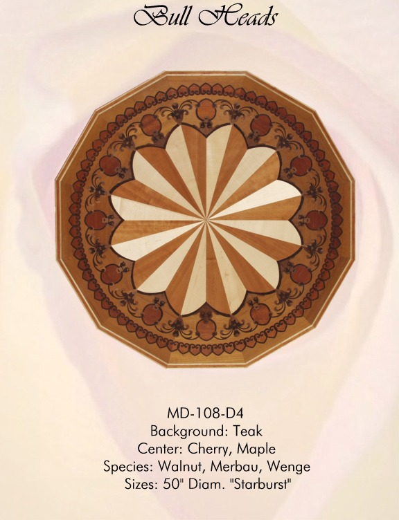 Bull Heads Medallion Hardwood Inlay