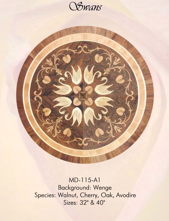 Swans Dark Medallion Hardwood Inlay