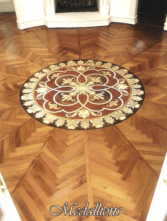 Custom Medallion Inlay Design hardwood inlay