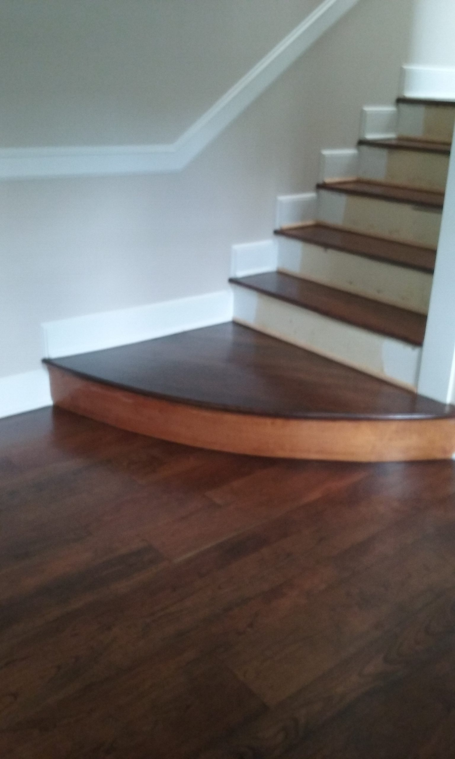 Stairs After Refinishing | Cherry Hardwood Flooring | Slaughterbeck Floors