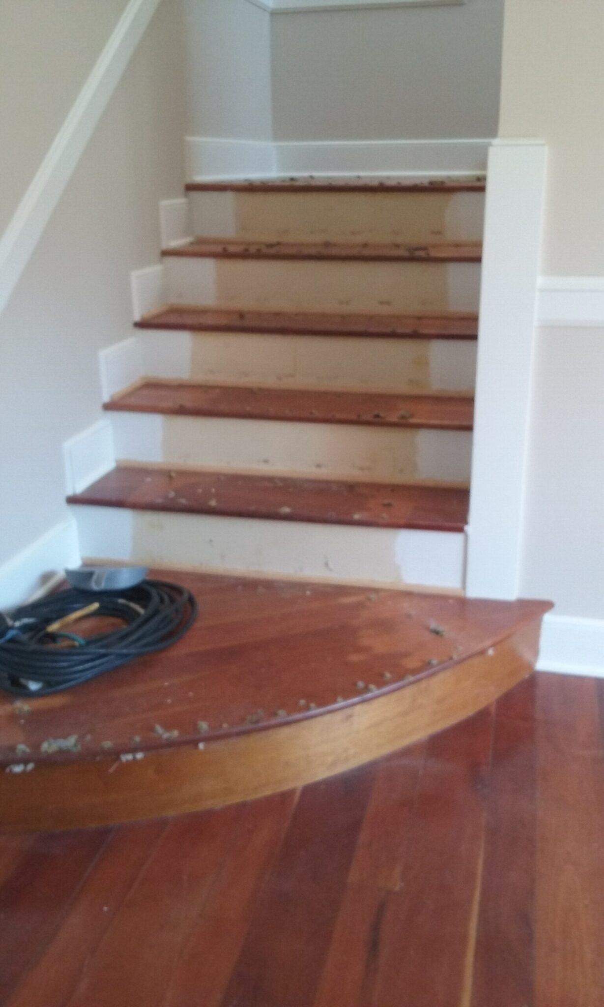 Stairs Before Refinishing | Cherry Hardwood Flooring | Slaughterbeck Floors