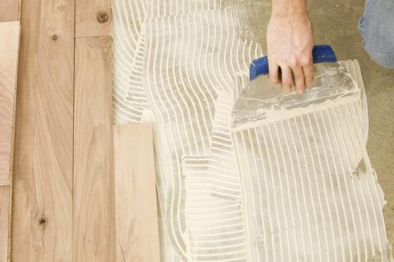 glue down wood floor