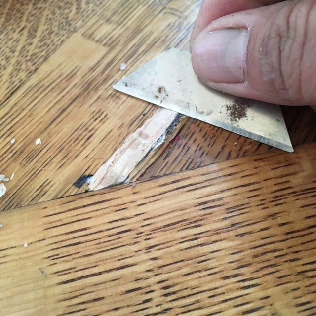 hardwood floor repair with filler wood