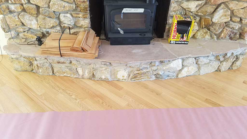 Custom Hardwood Floor Angles In Front of a Fireplace in a Los Gatos Home