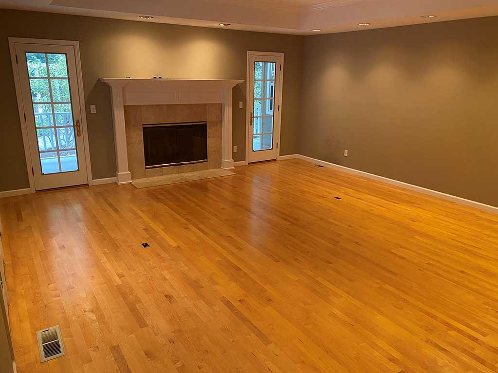 Living Room in Santa Cruz Home Before Hardwood Floor Restoration