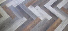 Vinyl Planks in Herringbone Pattern