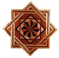 Hexagram Medallion hardwood inlay
