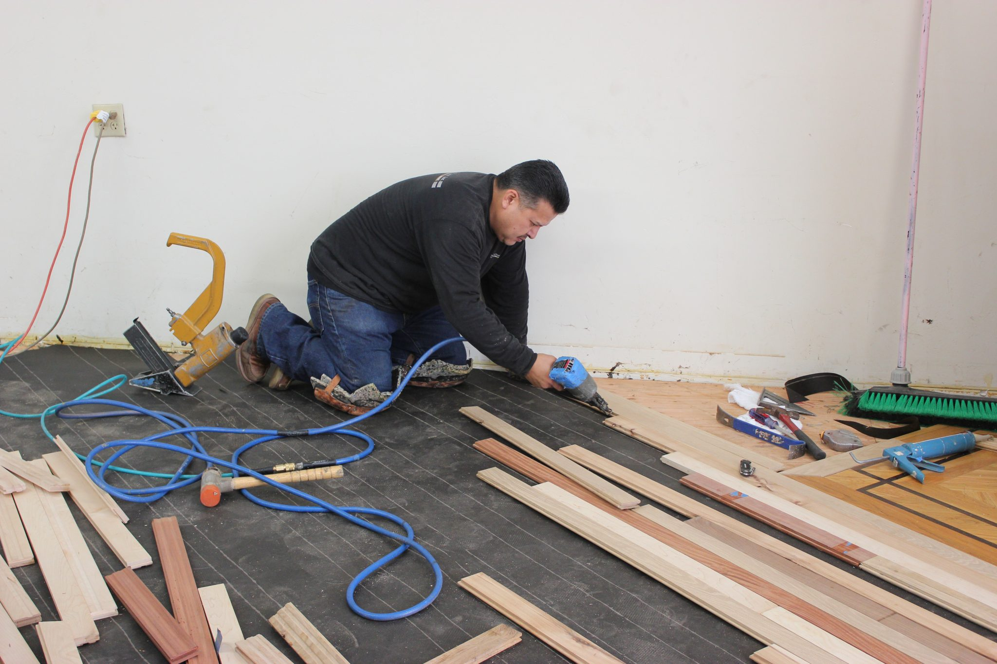 Gluing and nailing the strips   Slaughterbeck Floors