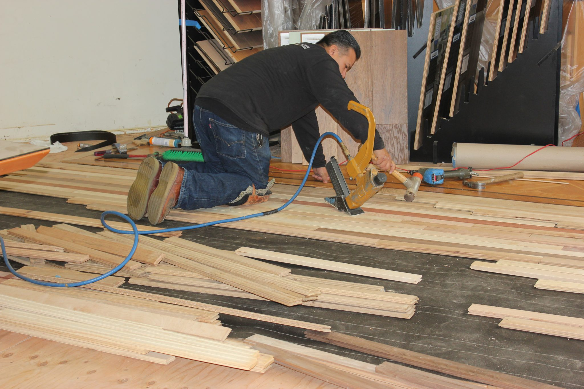 Gluing and nailing the strips | Slaughterbeck Floors