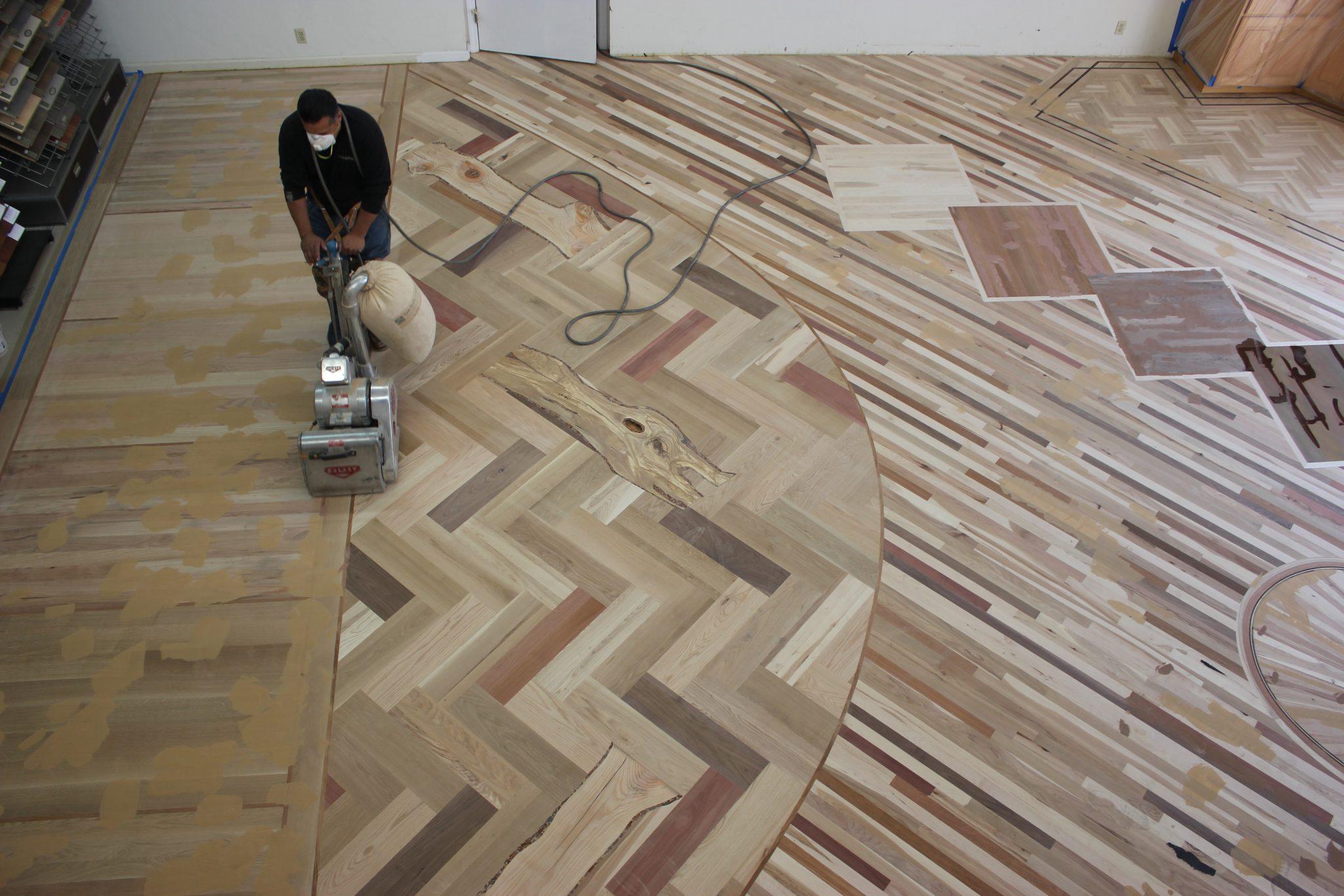 Sanding the wood floors   Slaughterbeck Floors