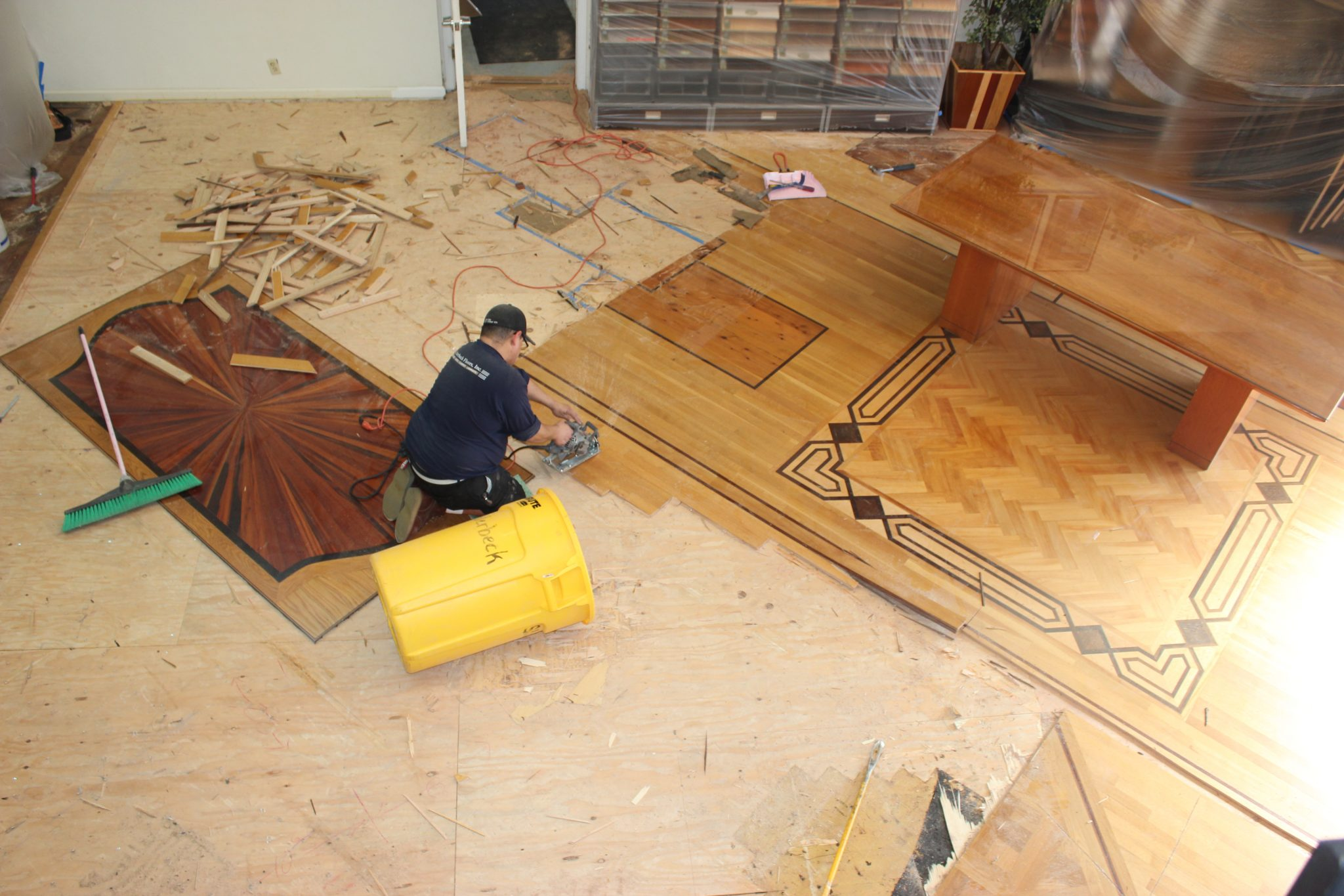 The custom bordering of the new floor | Slaughterbeck Floors