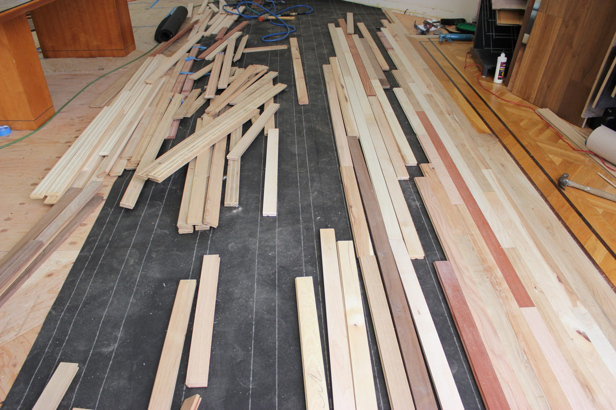 Arranging the strip flooring section   Slaughterbeck Floors