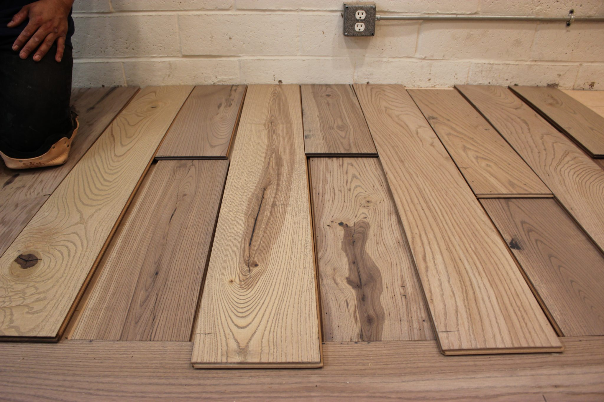 A close up of the strips of wood we laid | Slaughterbeck Floors
