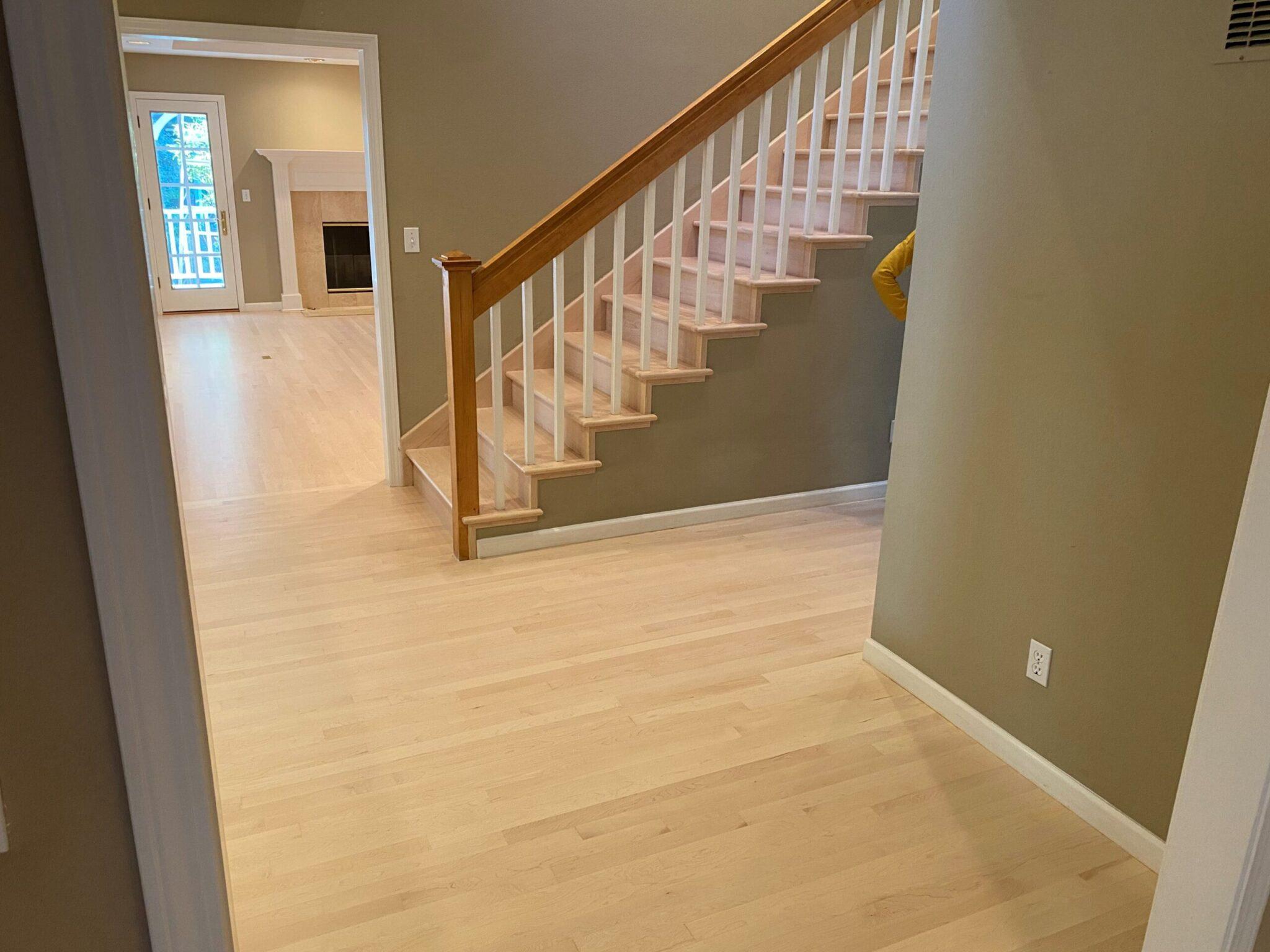Staircase in Santa Cruz Home After Hardwood Floor Restoration