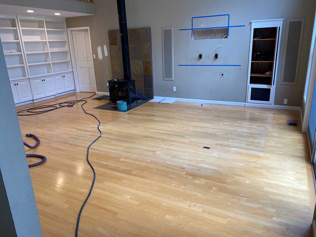 Study in Santa Cruz Home Before Hardwood Floor Restoration